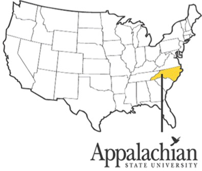 Map of the US with Boone, NC highlighted in yellow